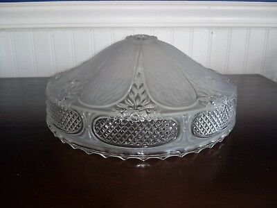 Vintage Art Deco Clear Frosted Thick Glass 3 Hole Ceiling Light Shade