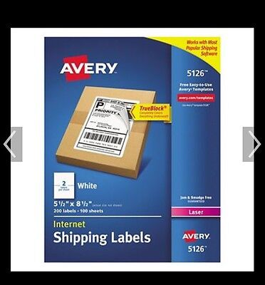 "Avery Shipping Label 5126 - 5.5"" Width X 8.5"" Length  200 / Pack White"