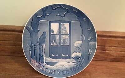 Bing & Grondahl 1959 Christmas Plate Blue & White 7 1/8""