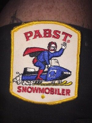 Vintage Original 1970's Pabst Blue Ribbon Beer, Snowmobile Beer Shirt Patch