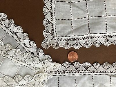 Vintage little finger napkins drawnwork embellished fabric handmade torchon lace