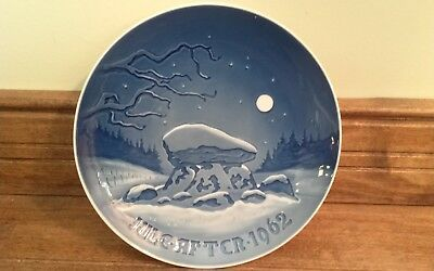 Bing & Grondahl 1962 Christmas Plate Blue & White 7 1/8""