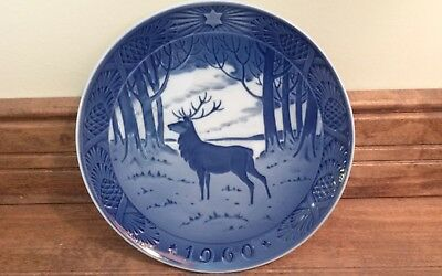 Royal Copenhagen 1960 Christmas Plate Blue & White 7 1/4""