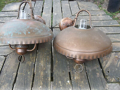 "Two, Antique,Copper Ceiling Fixtures, Aprox 24"" H X 14"" W, with Hurricane Globes"