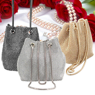 Ladies Dazzling Crystals Rhinestones Clutch Evening Bag Handbag Purse with Chain