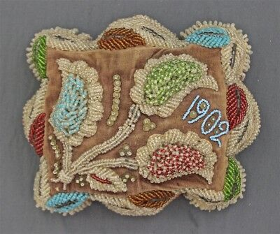 Antique Iroquois Handmade Beaded Whimsy Beadwork Velvet Square Large Cushion