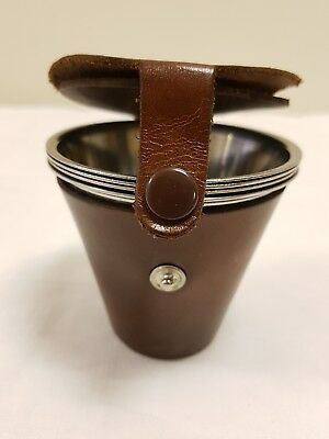 Lovely Vintage Set Of 4 Stirrup/ Spirit Tot Cups In Leather Pocket/ Travel Case