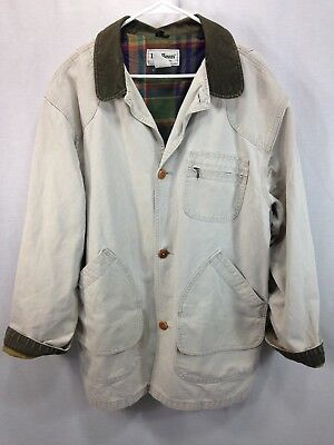 LL Bean Barn Coat Field Jacket Mens Large Tall USA 100% Cotton Flannel Lined