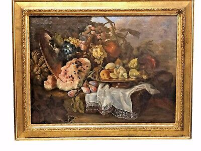 Large French Antique Still Life Oil on Canvas Framed Circa 1890 Finely Painted