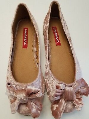 UNIONBAY Girls Blush Pink Bow Crushed Velvet Ballet Flats Shoes NWT Size 2.5