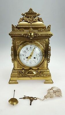 Stunning Very Large French Solid Brass Rococo Mantle Clock