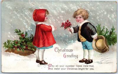 1914 CHRISTMAS Embossed Postcard Artist-Signed Clapsaddle Boy & Girl / Flowers