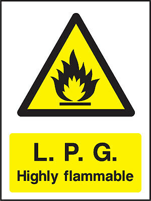 Warn0071 Lpg Highly Flammable Sign Sticker Health Safety Warning