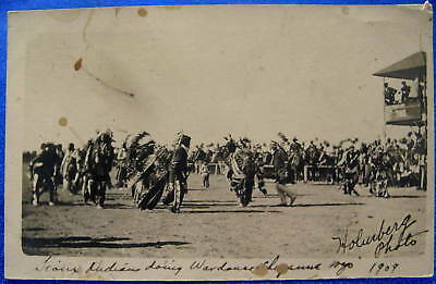 1909 RPPC Real Photo Postcard Sioux Indians Doing War Dance Cheyenne Wyoming WY