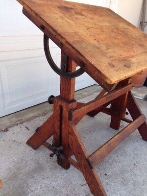 Vintage Defiance Adjustable Wood & Cast Iron Small Drafting Table