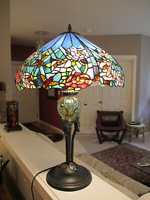 STUNNING- Rose and Hummimgbird Stained Glass Lamp