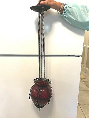 Cranberry Hanging Parlor Oil Lamp
