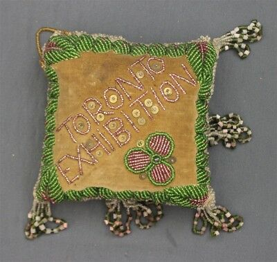 Antique Hand Made Iroquois Beaded Whimsy 'Toronto Exhibition' Velvet Cushion