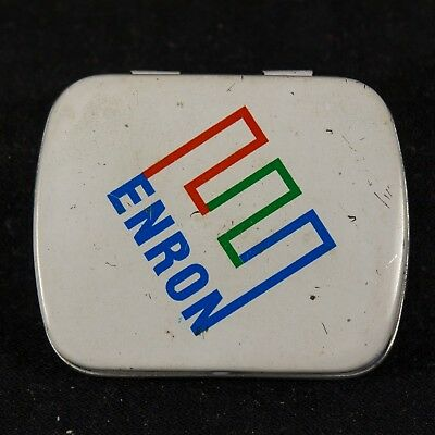"""Enron Collectable – Small White Mint Tin (Metal Box) with """"Crooked E"""" Logo"""