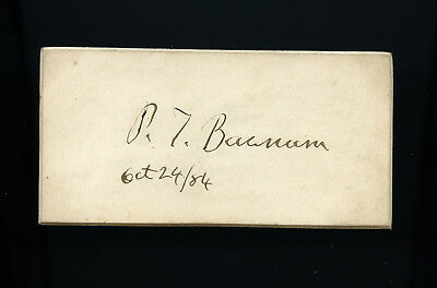 P. T. Barnum Autograph dated 1884