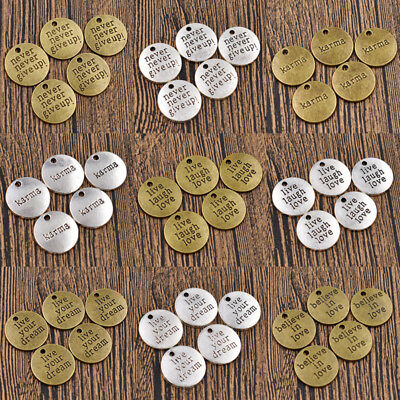 5/50pcs Never Give Up Inspiration Words Charms Pendant Antique Silver Bronze