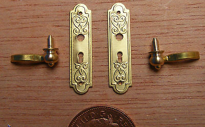 1:12 Scale Metal Door Handle & Plate Set Tumdee Dolls House Knobs DIY 665