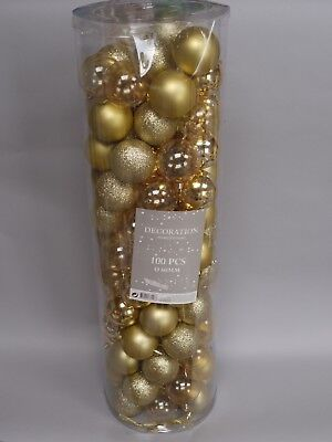 Pack Of 99 Gold Christmas Baubles Tree Decorations 60mm