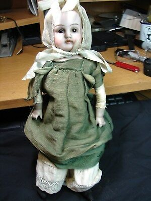 """Old German Bisque Doll Kid Body 11 1/2"""" Tall Glass Eyes"""