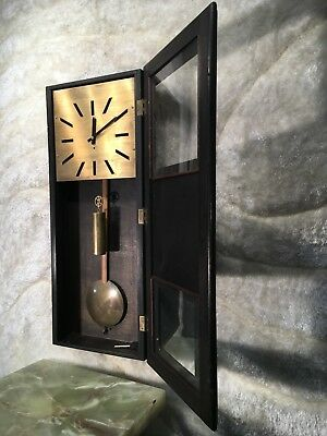 Rare Vtg Antique Gustav Becker Germaney Wall Clock W One Heavy Brass Weight Work