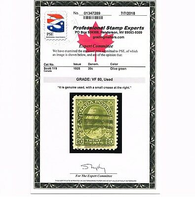 Genuine Canada Scott #119 Xf Used Pse Cert 1925 Olive Green 20¢ King George