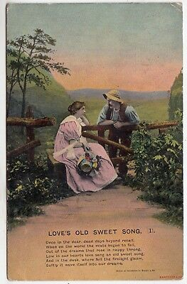 BAMFORTH SONG CARD #4501/1 - Love's Old Sweet Song - 1908 used postcard
