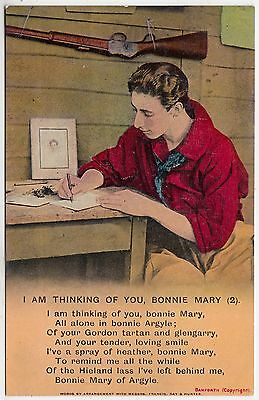 BAMFORTH SONG CARD #4696/2 - I'm Thinking Of You Bonnie Mary - c1910s postcard