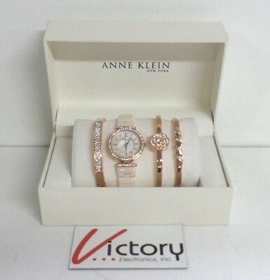 Anne Klein 12/2274RGST Rose Gold Tone Ceramic Watch & 3-Bangle Set (V150-2)
