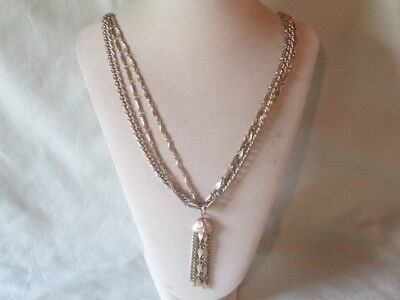 Vintage Gold-Tone Metal 4 Chain Tassel Design Pendant Necklace