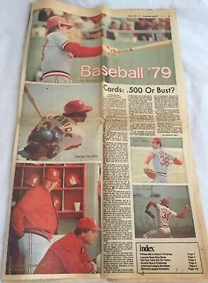 St Louis Cardinals Post-Dispatch Newspaper 1979 Season Preview MLB