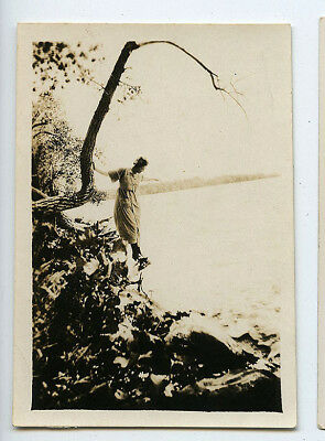 Adventurous Lady Balancing Act Lake Nicely Lit Vintage Snapshot Photo