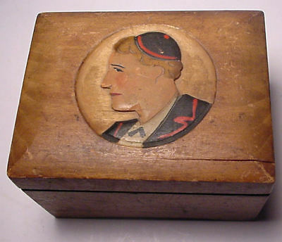 "Vintage Music Box ""sidewalks Of New York"" Carved Portrait Man With Yamaka"