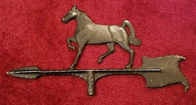 Vintage Weathervane Top With Horse & Arrow,Cast Aluminum,Galloping Race Stallion