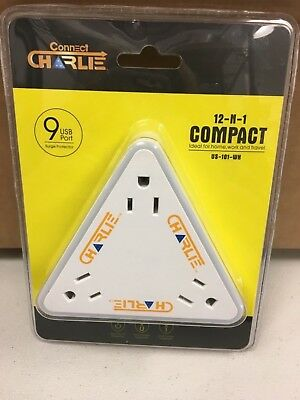 Connect Charlie Compact 12-N-1 Power Adapter - 9 USB Ports, 3 Outlets US-101-WH