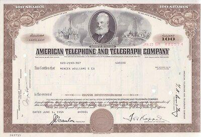 3 different American Telephone and Telegraph stock certificates