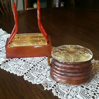 Two Vintage Lucite Purses - Iconic Beehive and Box no Labels - For Parts Only