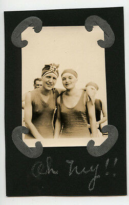 Oh My! Young Ladies Bathing Suits Funny Caption Beach Vintage Snapshot Photo
