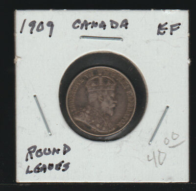 Canada 5 Cents 1909 Round Leaves