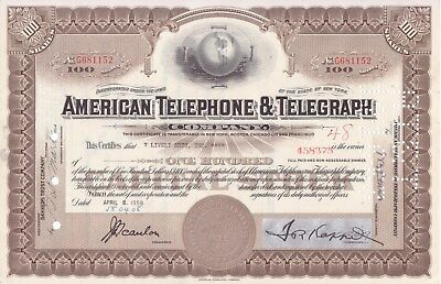 2 different American Telephone and Telegraph stock certificates