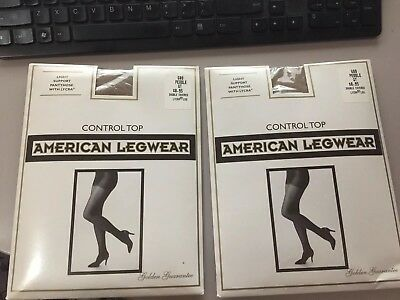 2 pair of American legwear size queen tall Pebble 680 control top