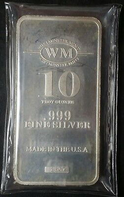 10 oz Silver Bar .999 Fine - Westminster Mint - Made in the USA