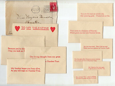 10 Envelope Valentine Inside An Envelope Postmarked 1916 New York, Sent To VT