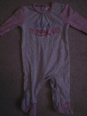 F&F baby girl's pink and grey sleepsuit age up to 1 month