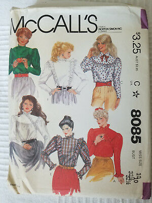 McCall's Pattern 8085 Blouse Variations Size 10
