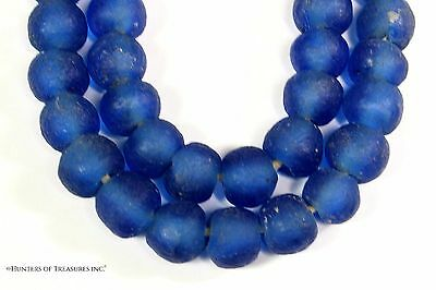 Strand of African Blue Recycled Glass Beads from Ghana Africa